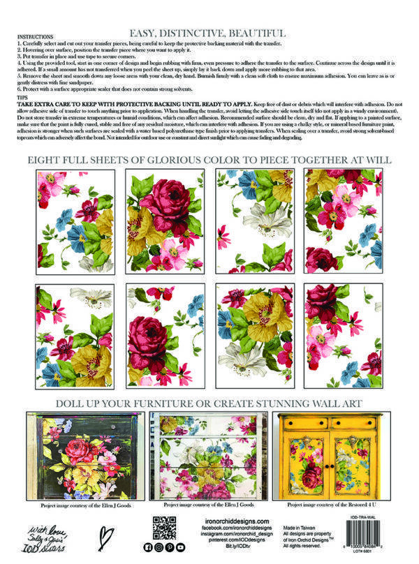 IOD Wall Flower pad packaging BACK S 600x808 - My Shabby Chic Corner - Prodotti Iron Orchid Designs - IOD