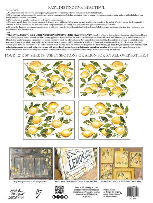 Lemon Drop2 IOD Transfer pad packaging BACK S 600x796 - My Shabby Chic Corner - Prodotti Iron Orchid Designs - IOD