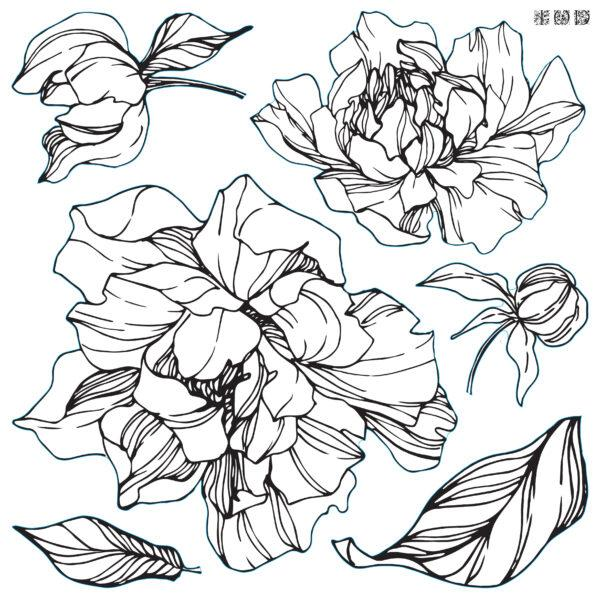 Decor Stamp Peonies2 600x600 - My Shabby Chic Corner - Prodotti Iron Orchid Designs - IOD